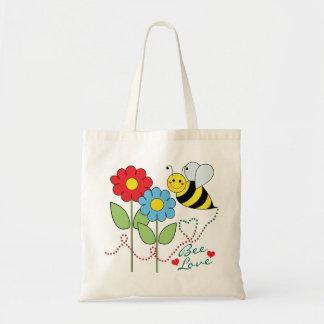 Manosee la abeja con amor de la abeja de las bolsa tela barata