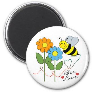 Manosee la abeja con amor de la abeja de las flore imán redondo 5 cm