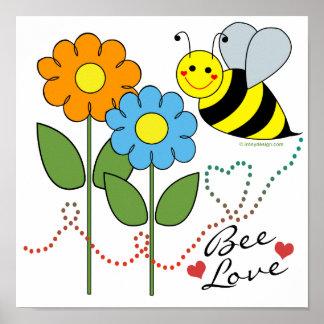 Manosee la abeja con amor de la abeja de las flore impresiones