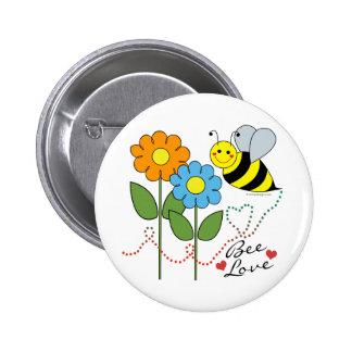 Manosee la abeja con amor de la abeja de las flore pin redondo 5 cm