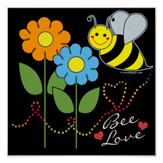 Manosee la abeja con amor de la abeja de las flore póster