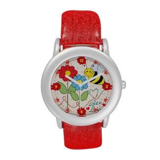 Manosee la abeja con amor de la abeja de las relojes de mano