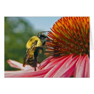 Manosee la abeja con el corazón en el cielo tarjeta de felicitación