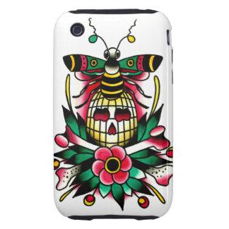 Manosee la abeja con el cráneo y la bandera pirata iPhone 3 tough protector