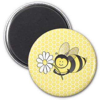 Manosee la abeja con la margarita imán de frigorifico
