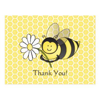 Manosee la abeja con la margarita le agradecen postal