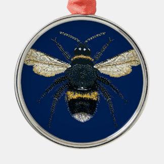 Manosee la abeja adorno redondo plateado