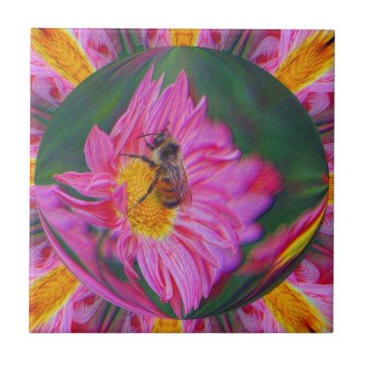 Manosee la abeja en teja del arte abstracto de la