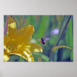 Manosee la abeja en vuelo póster