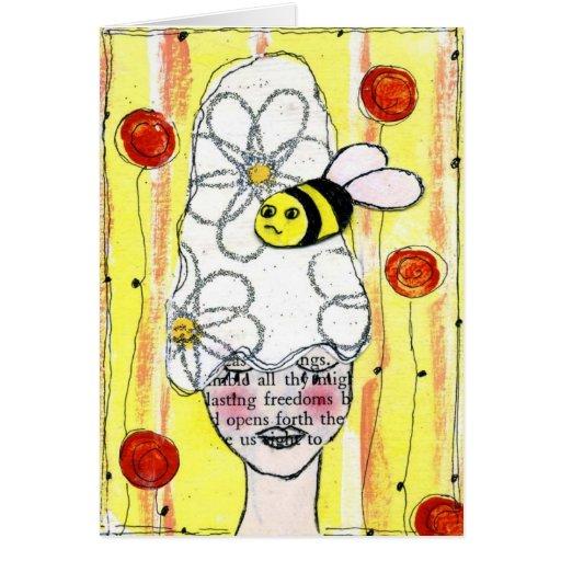 Manosee la abeja Notecard Felicitaciones