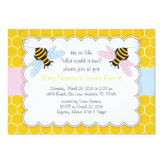 """Manosee la abeja que el género revela la invitación 5"""" x 7"""""""