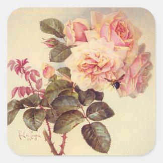 Manosee la abeja y al pegatina de los rosas