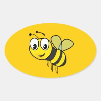 Manosee la abeja, zumbido pegatina ovalada