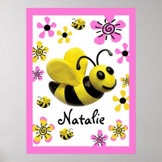 Manosee la ducha de la niña de la abeja póster