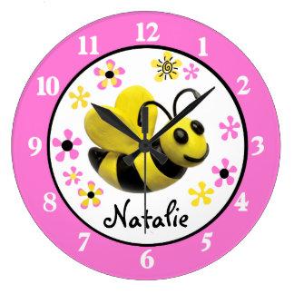 Manosee la ducha Nusery de la niña de la abeja Reloj Redondo Grande