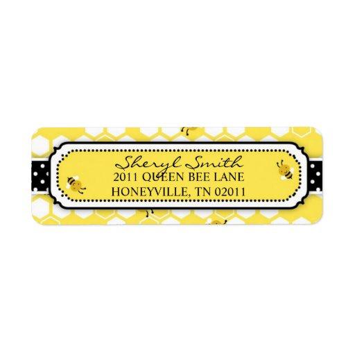 Manosee la etiqueta de devolución de la abeja etiqueta de remite