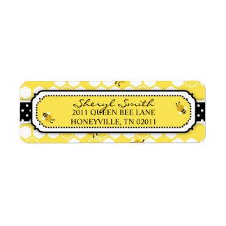 Manosee la etiqueta de devolución de la abeja etiquetas de remite