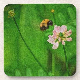 Manosee la flor del trébol del vuelo de la abeja posavasos