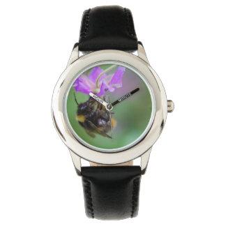 Manosee la foto de la abeja relojes de pulsera