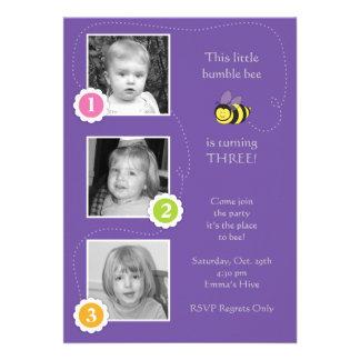 Manosee la invitación del cumpleaños de la abeja