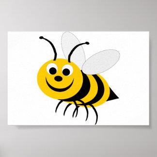 Manosee la letra pequeña de la abeja póster