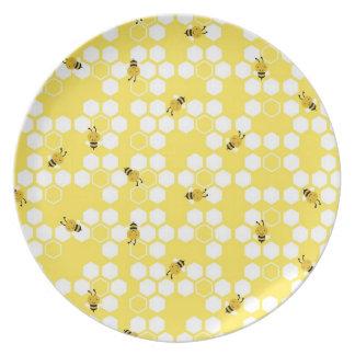 Manosee la placa de la abeja platos para fiestas