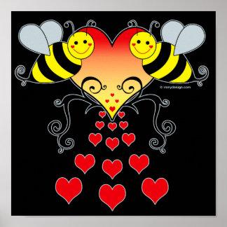 Manosee las abejas y los posters del arte de los c
