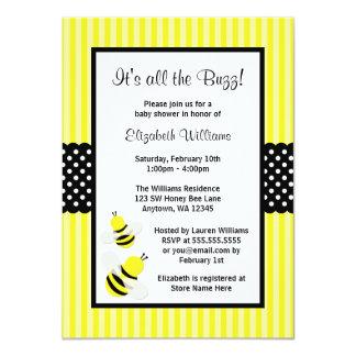 Manosee las invitaciones rayadas abeja de la invitación 11,4 x 15,8 cm