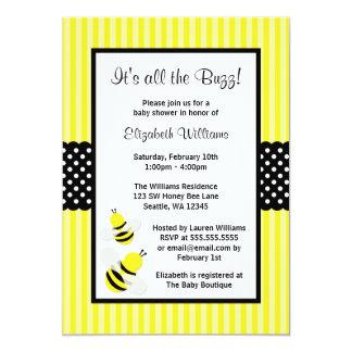 Manosee las invitaciones rayadas abeja de la invitación 12,7 x 17,8 cm