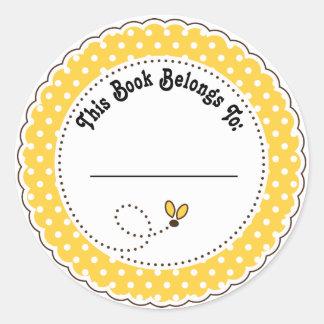 Manosee los Bookplates de la lectura de la abeja Pegatina Redonda