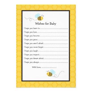 Manosee los deseos de la abeja para las tarjetas d invitaciones personalizada