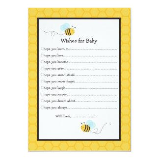 """Manosee los deseos de la abeja para las tarjetas invitación 5"""" x 7"""""""