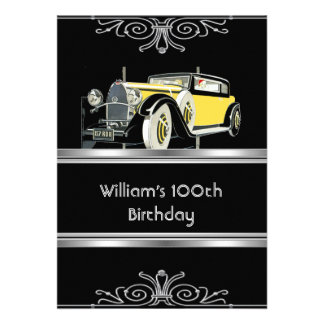 Mans 100th Birthday Party Black Vintage Car Personalized Invite