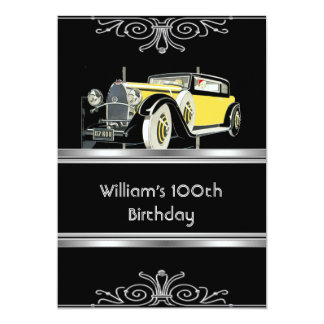 Mans 100th Birthday Party Black Vintage Car 5x7 Paper Invitation Card