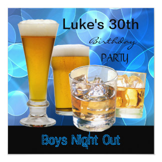 Mans 30th Birthday Blue Drinks Beer Boys Night 5.25x5.25 Square Paper Invitation Card