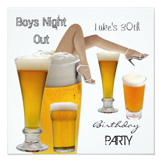 Mans 30th Birthday Party Beer Boys Night Legs Card