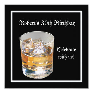 Mans 30th Birthday Party Black Silver Drinks 5.25x5.25 Square Paper Invitation Card