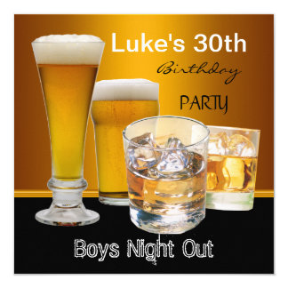 Mans 30th Birthday Party Drinks Beer Boys Night Card