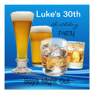 Mans 30th Birthday Party Drinks Beer Boys Night 5.25x5.25 Square Paper Invitation Card