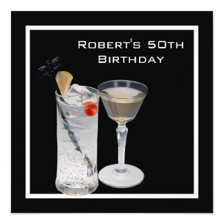 Mans 50th Birthday Party Black Silver Drinks Card