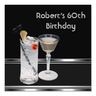 Mans 60th Birthday Party Black Silver Drinks Card