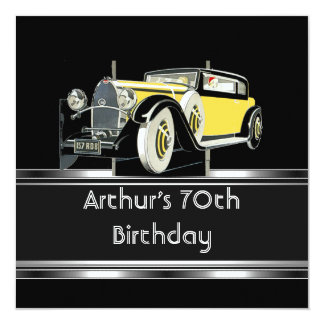 Mans 70th Birthday Party Black Vintage Car Card