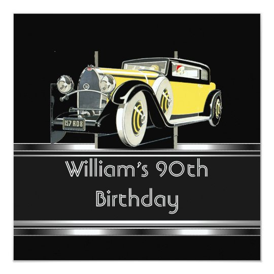 Mans 90th Birthday Party Black Vintage Car Card