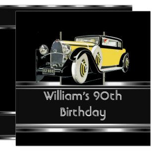 Mans 90th Birthday Party Black Vintage Car Invitation