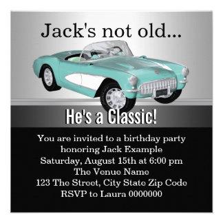 Mans Antique Car Birthday Party Invite