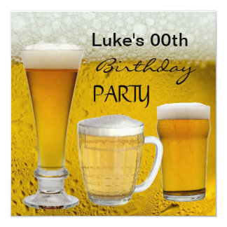 Mans Any Age Birthday Party Drinks Beer 5.25x5.25 Square Paper Invitation Card