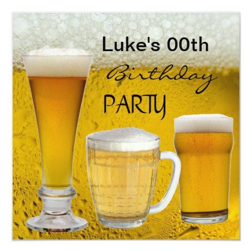 Mans Any Age Birthday Party Drinks Beer Invitation   Zazzle