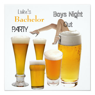 Mans Bachelor Party Beer Boys Night Legs 5.25x5.25 Square Paper Invitation Card