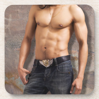 Man's Bare Chest Photograph Drink Coaster