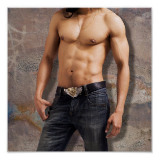 Man's Bare Chest Photograph Poster
